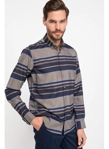 DeFacto Modern Fit Kareli Gömlek Mavi